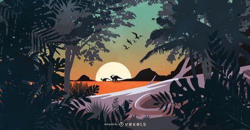 Ilustración de escena de dinosaurio prehistórico