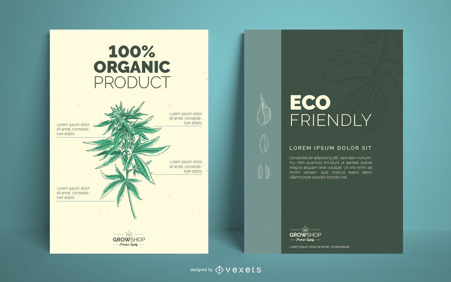 Conjunto de design de cartazes da Grow Shop