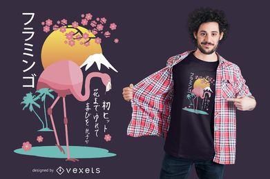 Diseño de camiseta de flamenco japonés