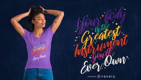 Diseño de camiseta con cita colorida