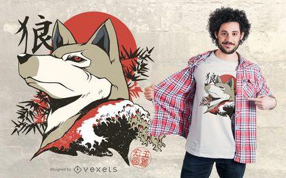 Design de camiseta de lobo japonês