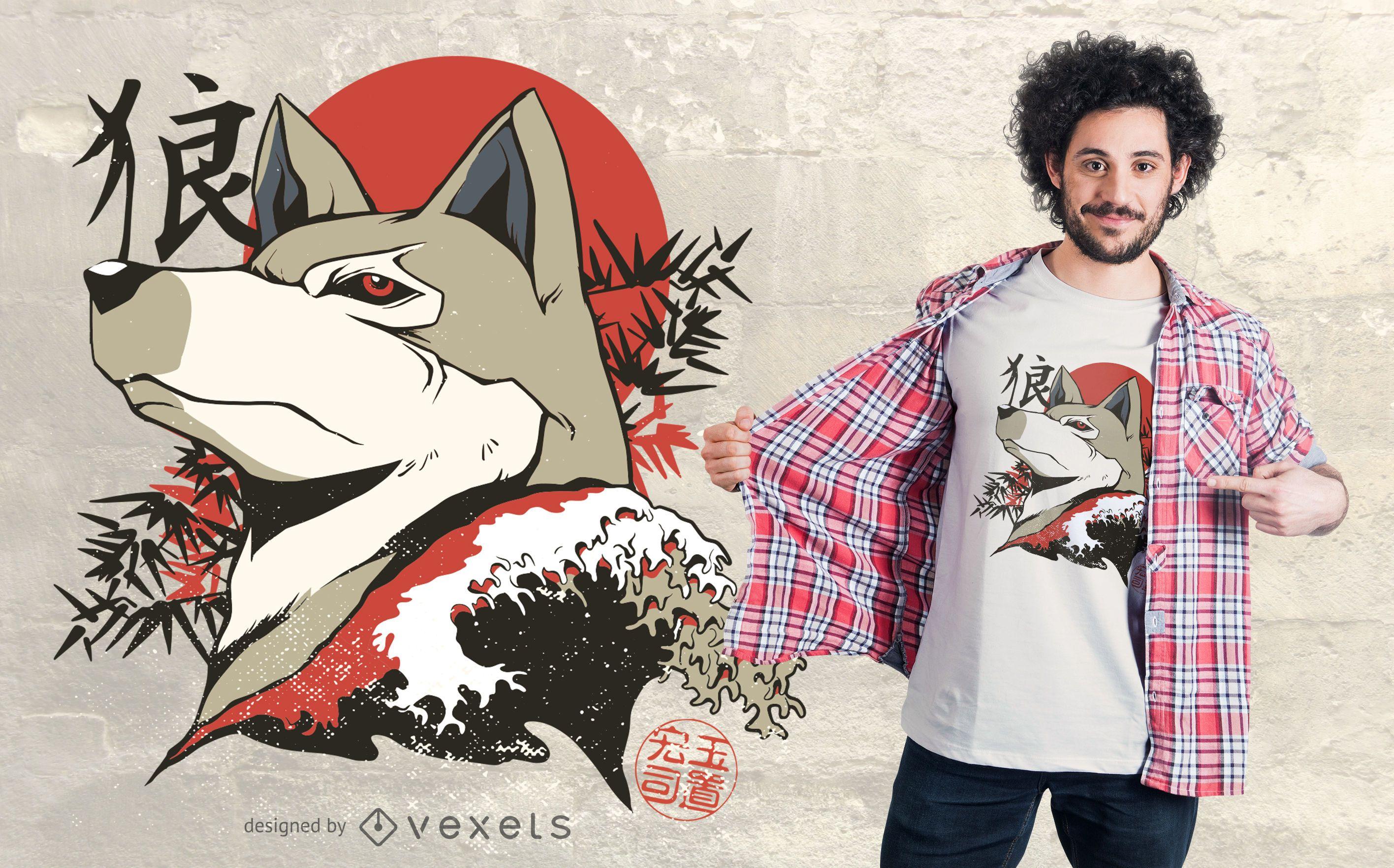 Diseño de camiseta de lobo japonés