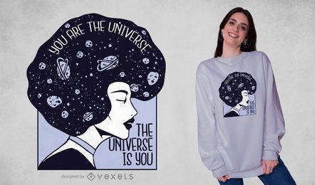 Diseño de camiseta de chica universo