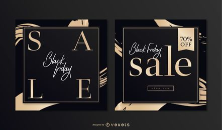Elegantes Black Friday Square Banner Set