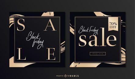 Sexta-feira negra elegante conjunto de banner quadrado