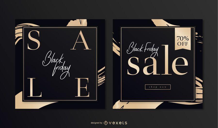 Elegant Black Friday Square Banner Set