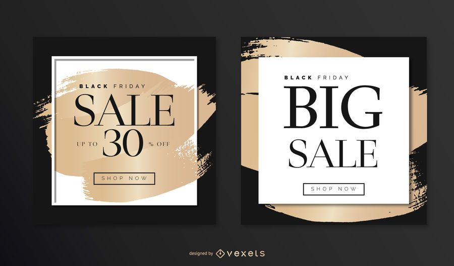 Elegant Black Friday Square Design Set