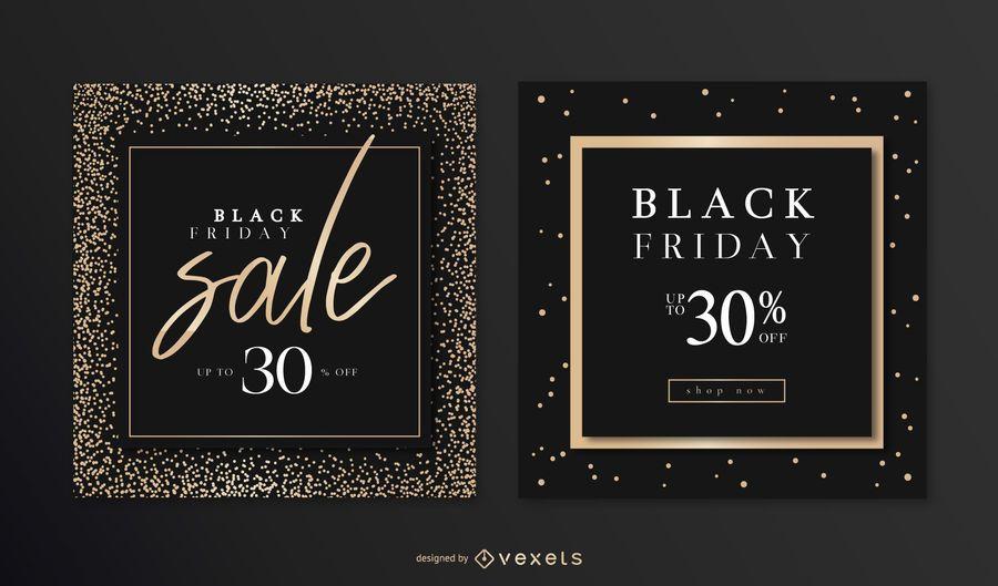 Conjunto de banners elegantes de viernes negro