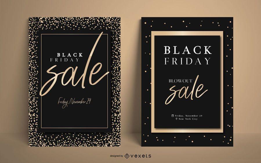 Elegante conjunto de carteles de venta de viernes negro