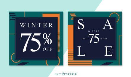 Conjunto de banner cuadrado de venta de invierno