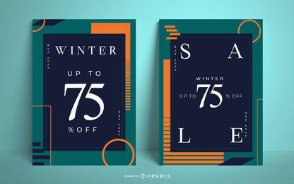 Conjunto de diseño de carteles de venta de invierno