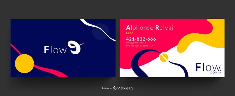 Design de cartão de visita de fluxo criativo