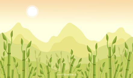 Diseño de fondo de campo de bambú