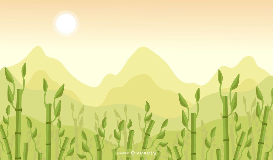 Design de fundo de campo de bambu