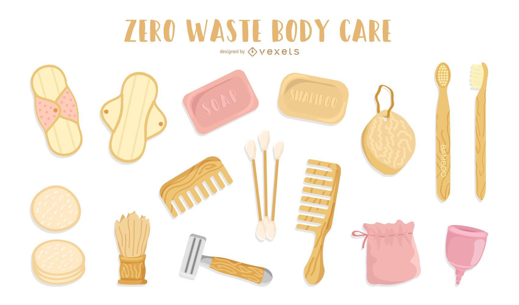 Paquete de diseño de elementos naturales de cuidado corporal