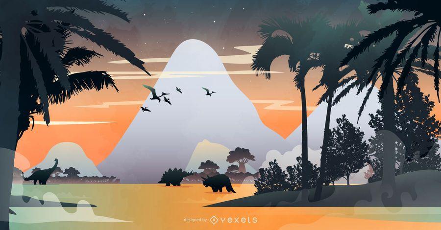 Dinosaur Scene Nature Illustration