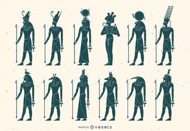 Pacote de silhueta de deus egípcio plana