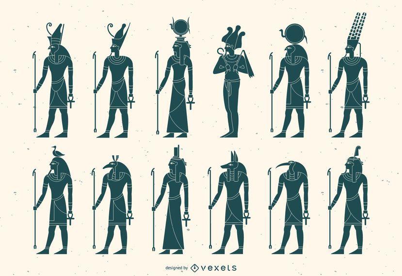 Flat Egyptian God Silhouette Pack