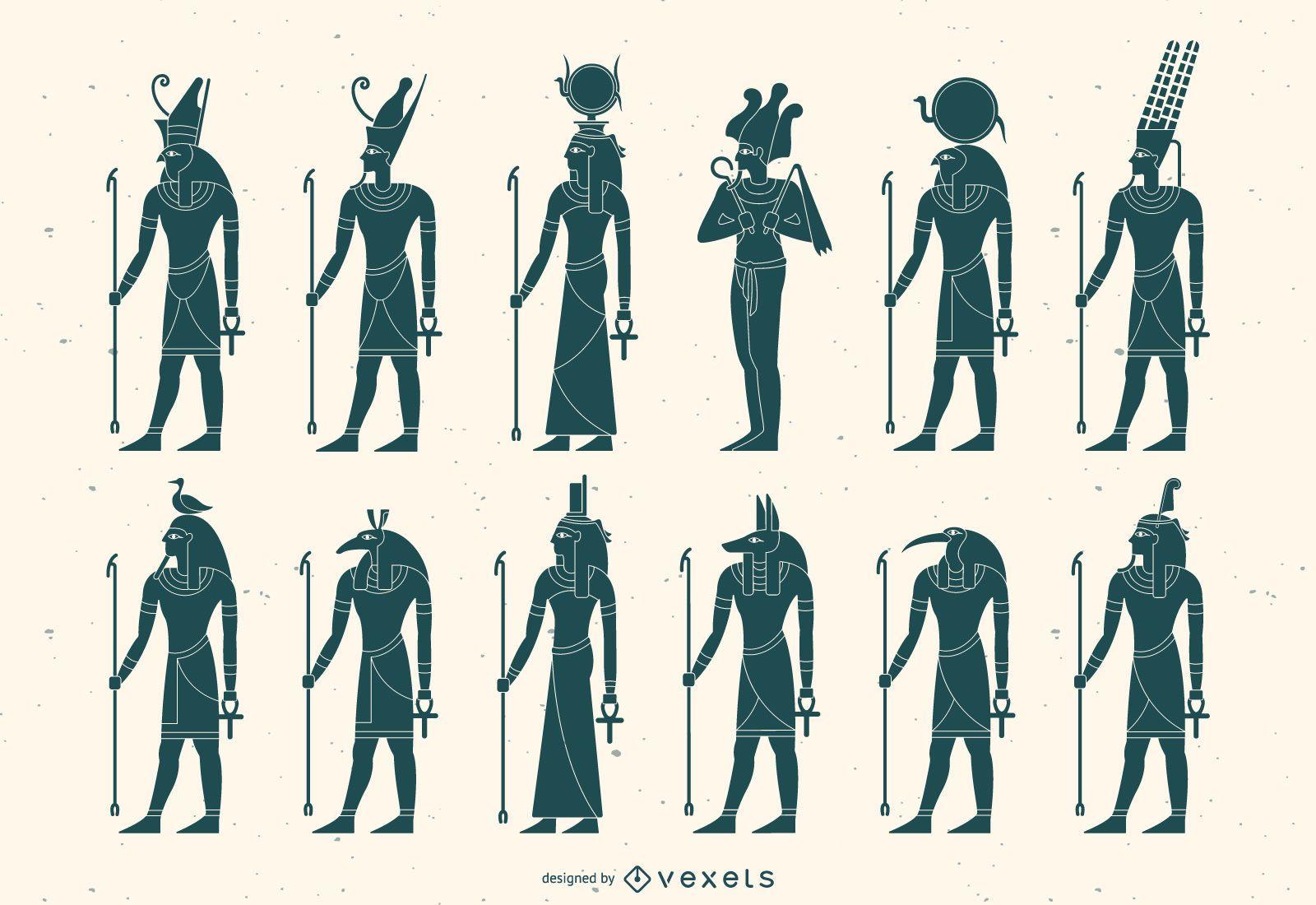 Paquete de silueta de dios egipcio plano