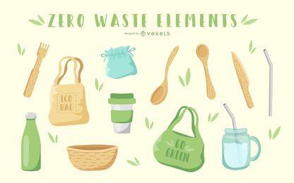 Paquete de ilustración de elementos de cero residuos