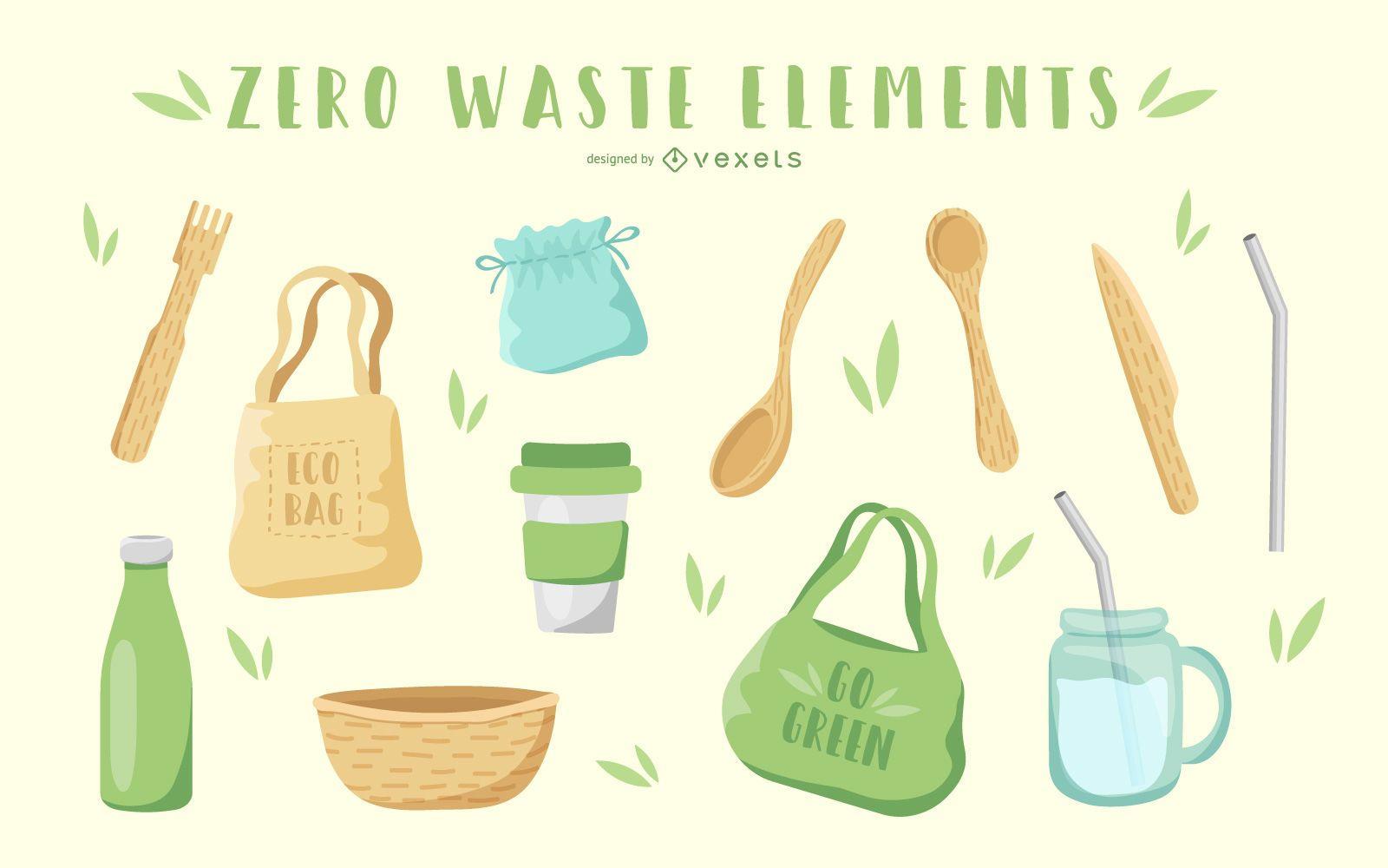 Paquete de ilustración de elementos de desperdicio cero