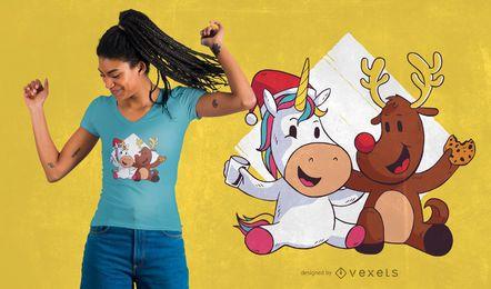 Design de camiseta de Natal fofa de renas de unicórnio