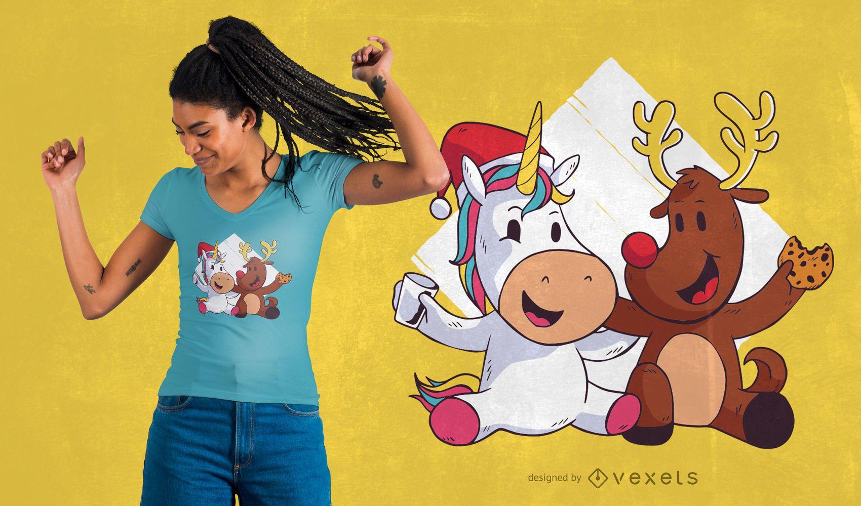 Diseño de camiseta de Navidad lindo unicornio reno