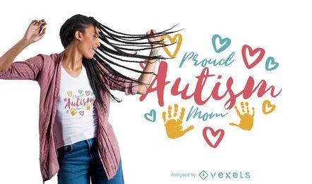 Diseño orgulloso de la camiseta de la mamá del autismo