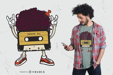 Design de t-shirt de fita cassete afro retrô