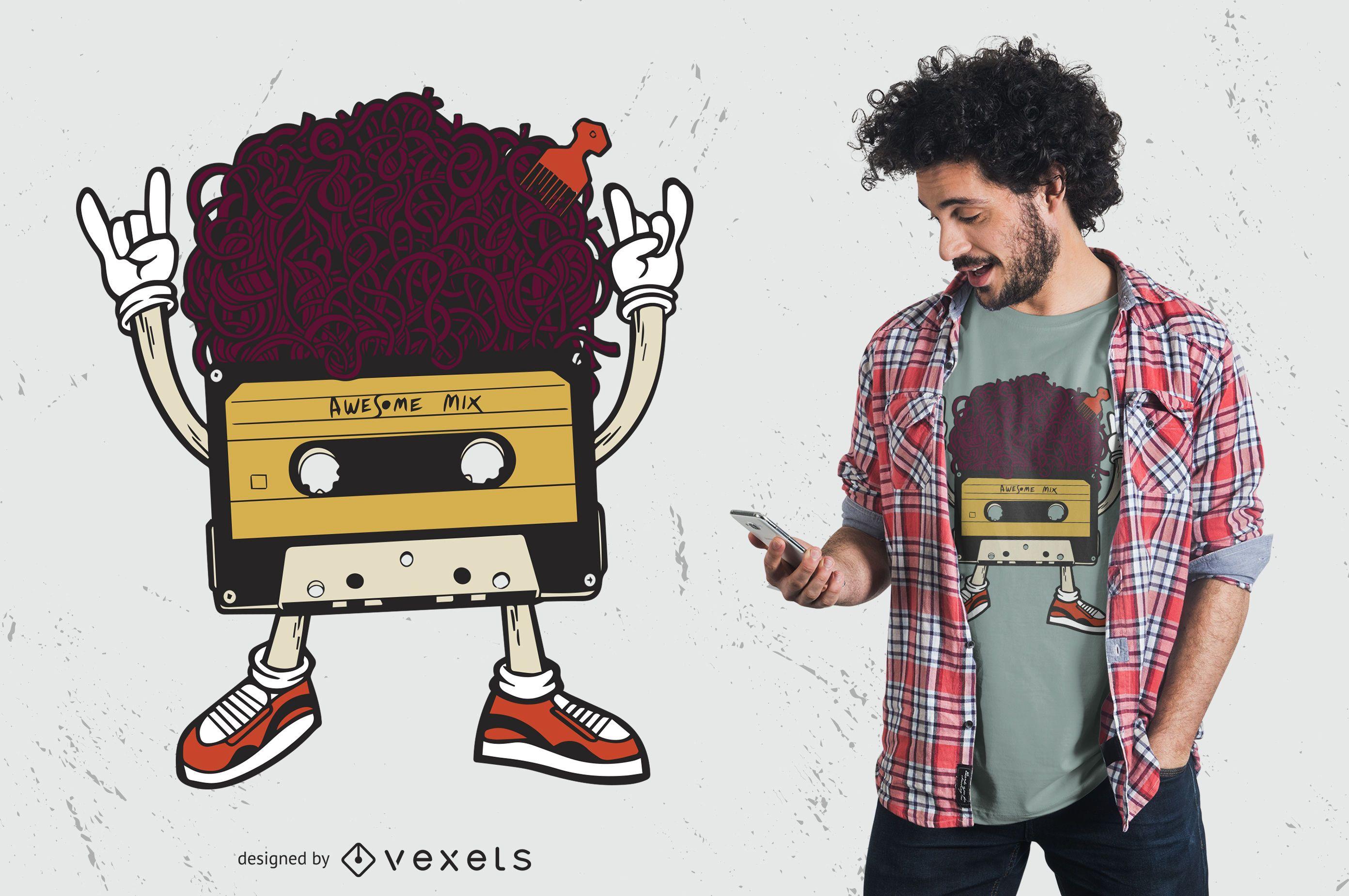 Diseño de camiseta de cinta de cassette afro retro