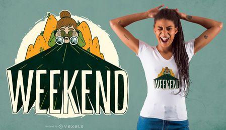 Diseño de camiseta de camping de fin de semana