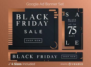 Conjunto de banner preto elegante sexta-feira