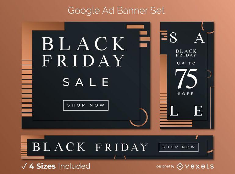 Viernes negro elegante conjunto de banner publicitario