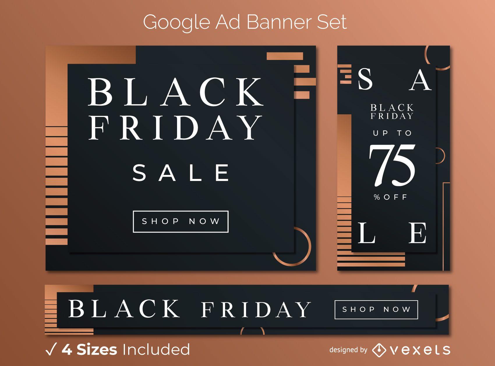 Black friday elegant ad banner set