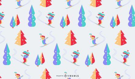 Desenho de padrão colorido de inverno