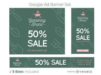 Conjunto de banners do Google Ads para negócios de jardinagem