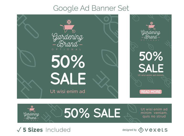 Gartenarbeit-Geschäft Google Ads Banner Set