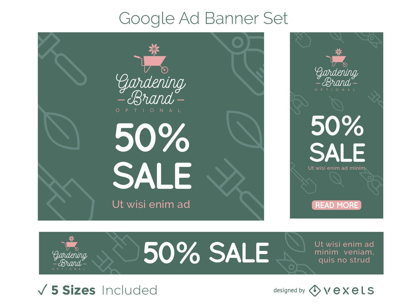 Conjunto de banners de anuncios de Google para empresas de jardinería