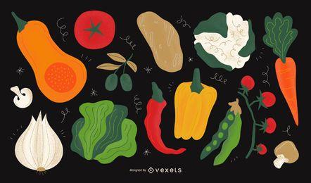 Vegetable illustration design set