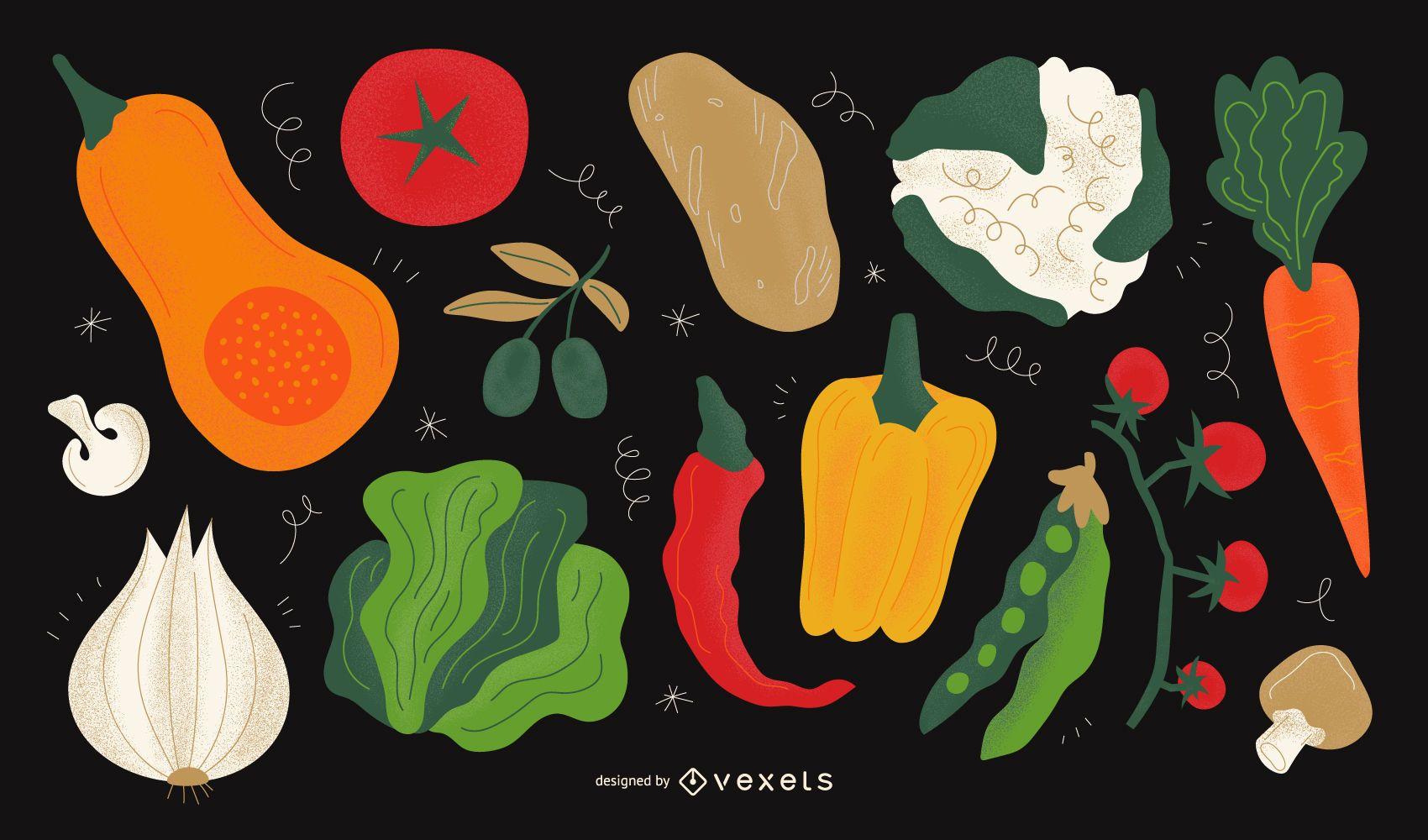 Conjunto de diseño de ilustración vegetal