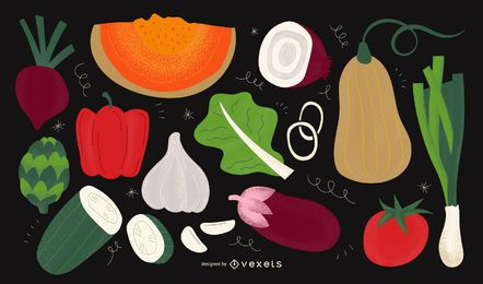 Vegetables illustration design set