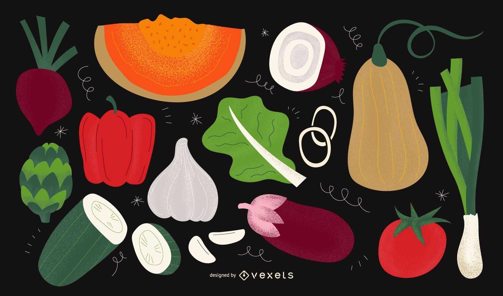 Vegetables illustration design set