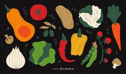 Conjunto de ilustrações de legumes