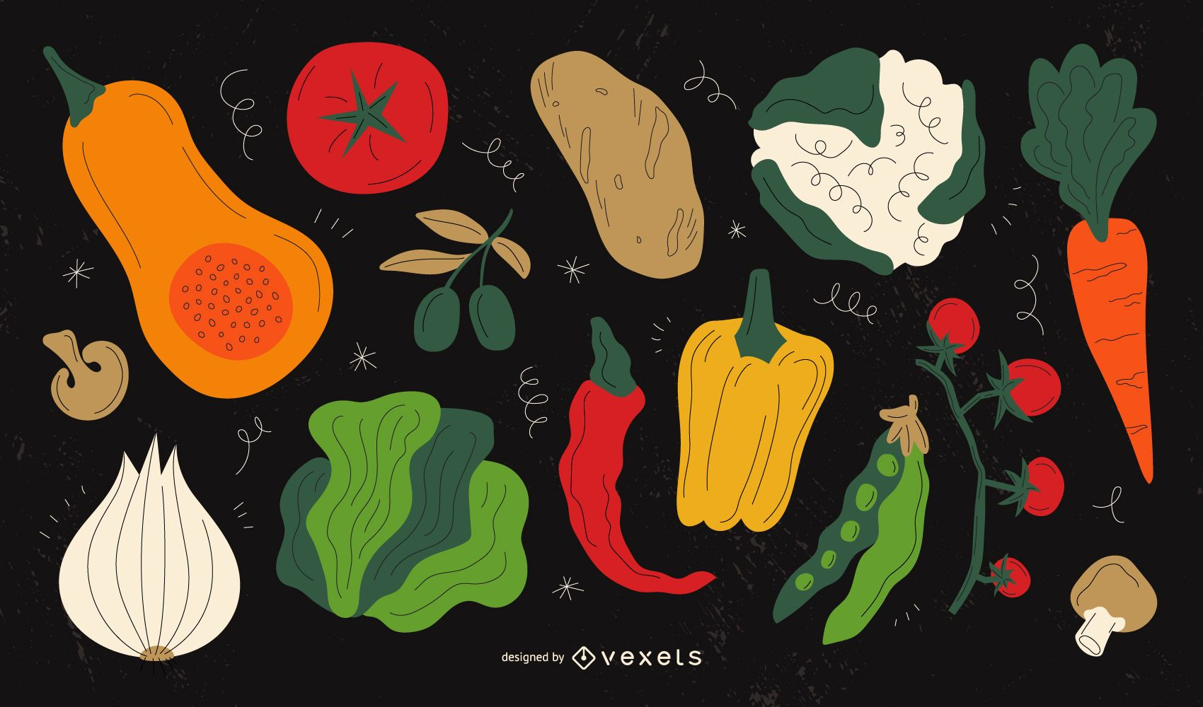 Conjunto de ilustraciones de verduras