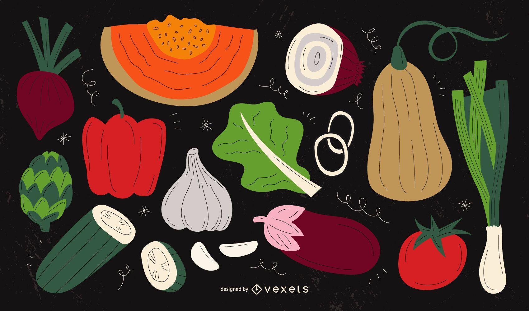 Vegetables illustrations pack