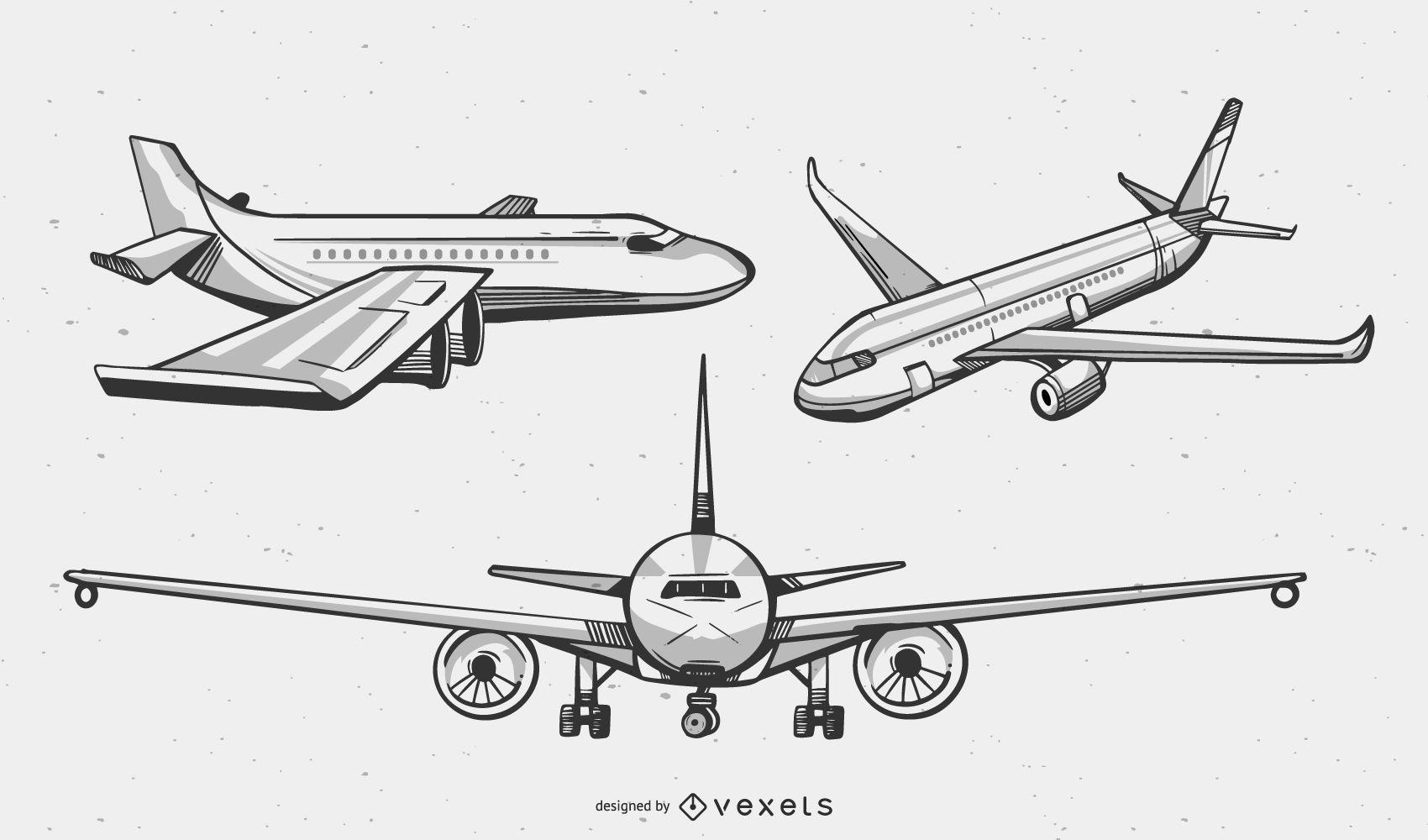 Airplanes duotone vector set