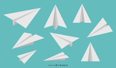 Paper airplanes vector set