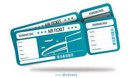 Diseño de plantilla de boleto de avión