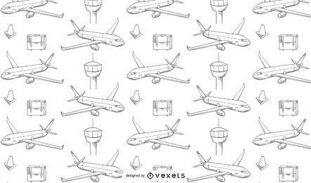 Flugzeuge reisen Musterdesign