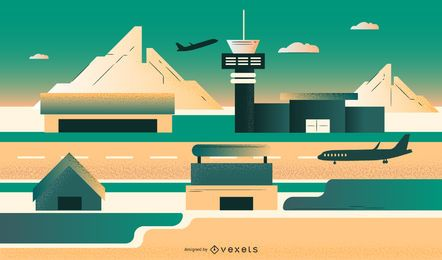 Airport Flat Design Illustration